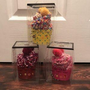 Cute Fuzzy Cupcake Pom Pom Socks Assorted Colors